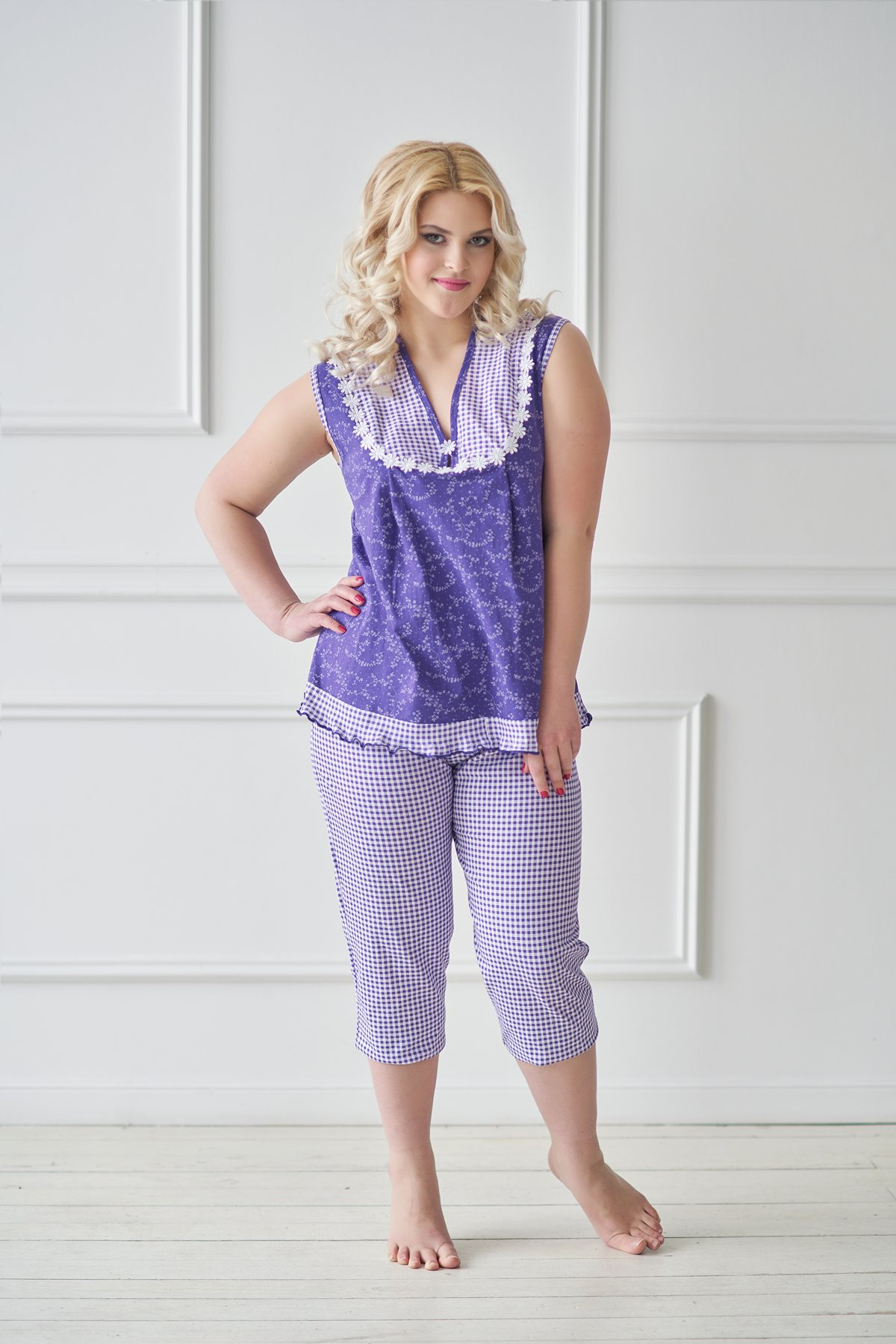 Жен. пижама арт. 19-0042 Фиолетовый р. 52