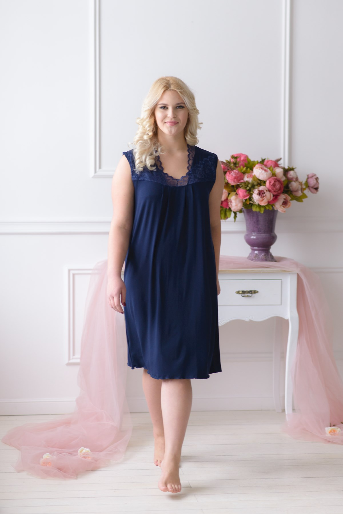 Жен. сорочка арт. 19-0041 Темно-синий р. 60 - Женская одежда артикул: 28977