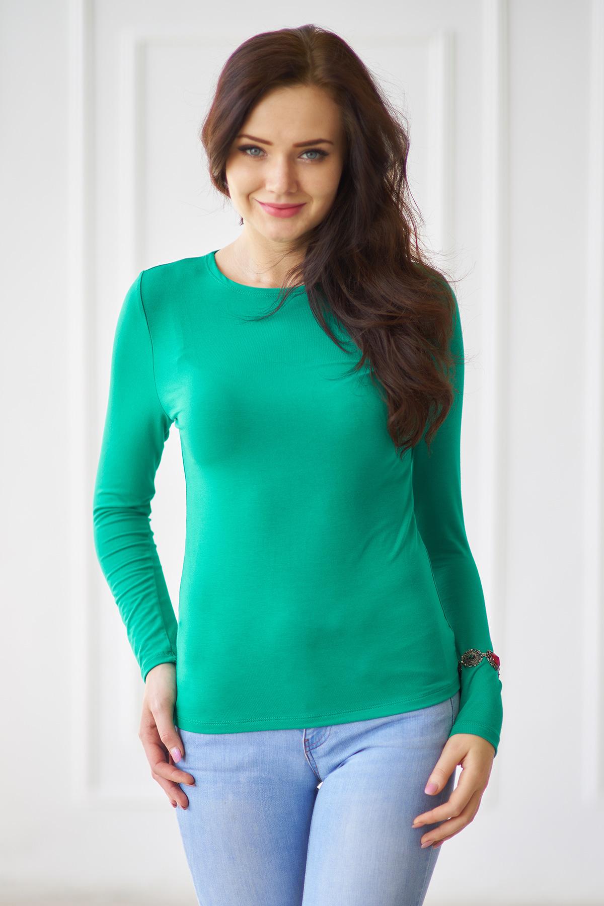 Жен. лонгслив арт. 19-0003 Зеленый р. 54 - Женская одежда артикул: 28450