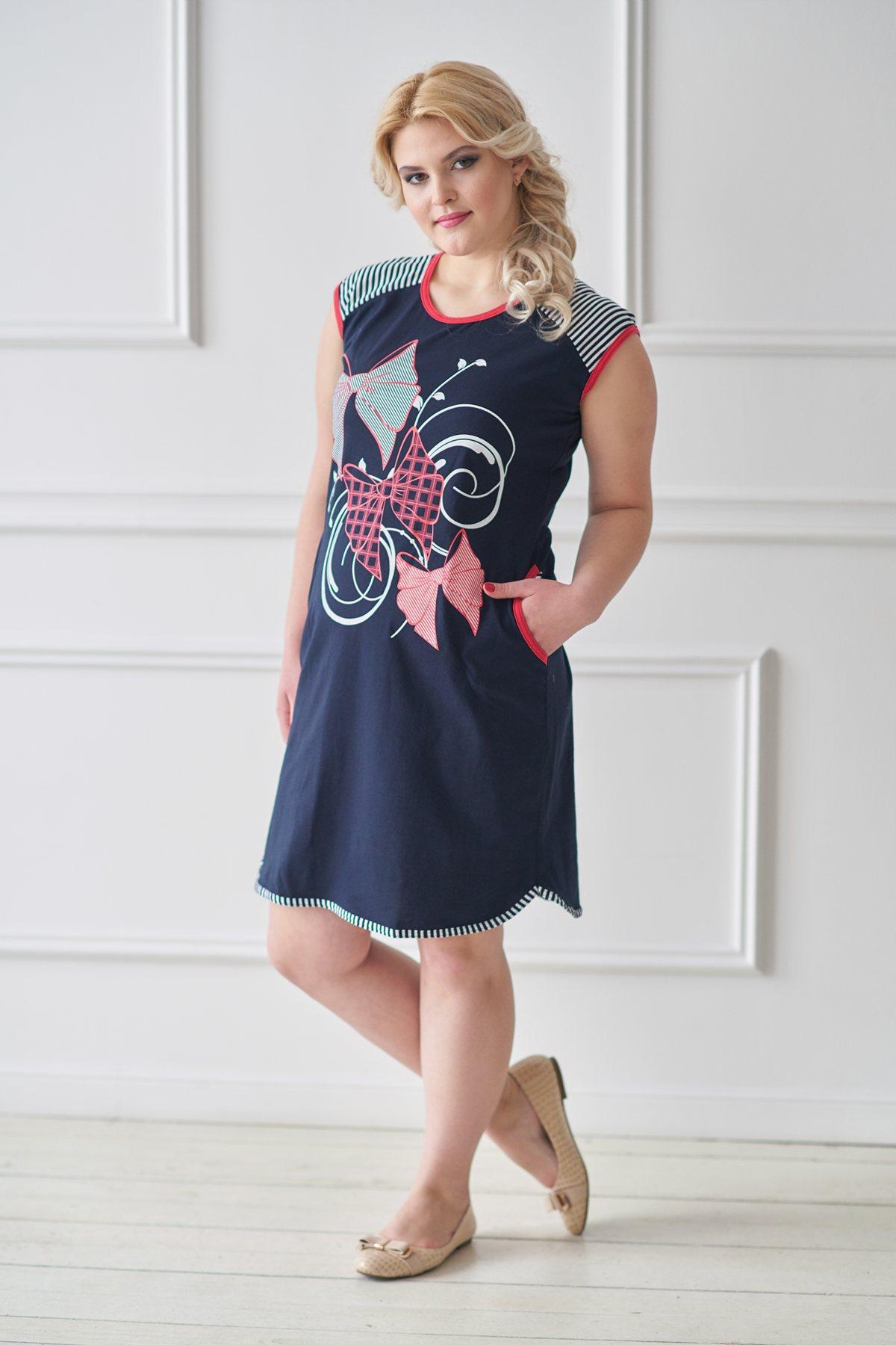 Жен. туника арт. 19-0027 Темно-синий р. 56 - Женская одежда артикул: 28831
