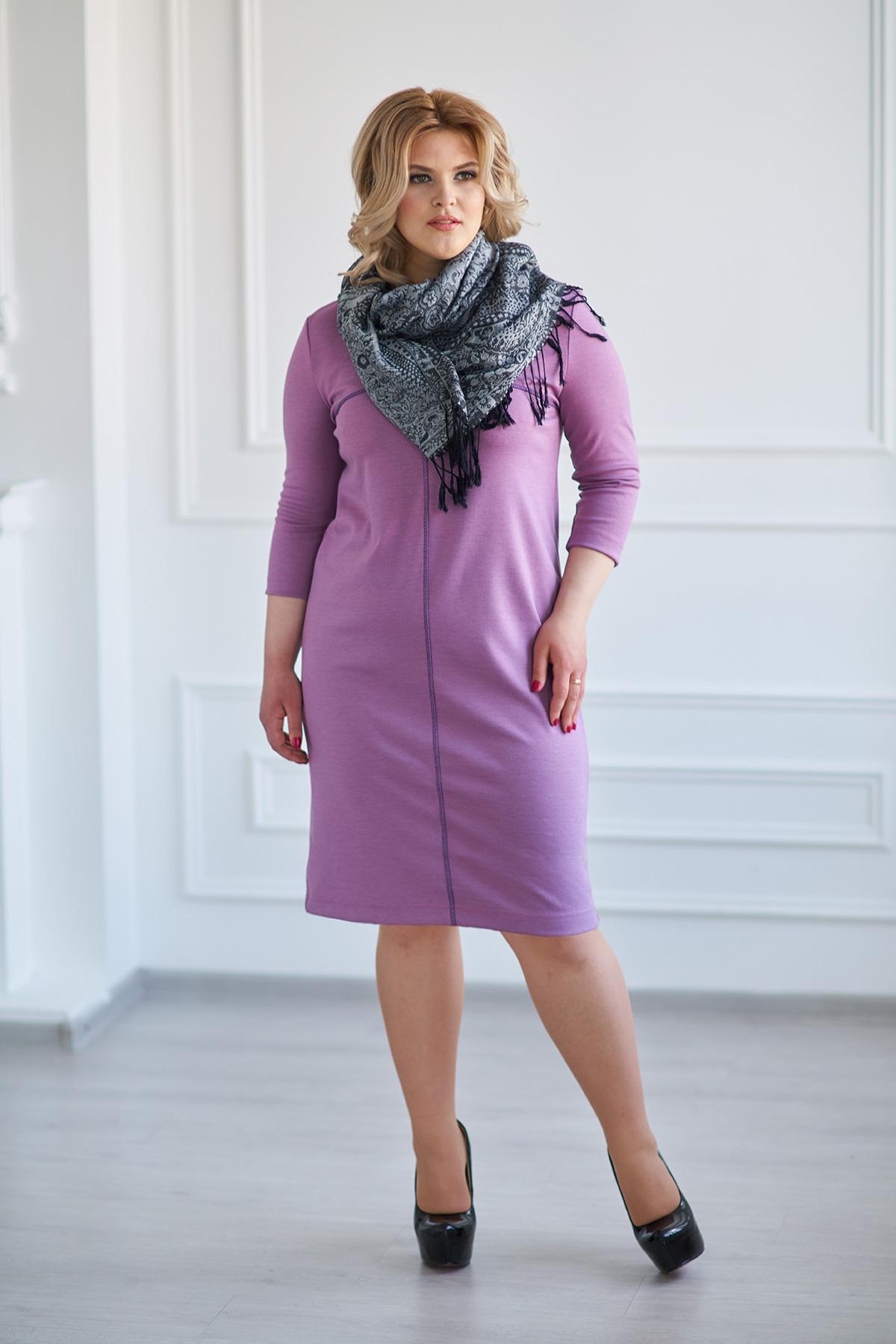 Жен. платье арт. 19-0025 Сиреневый р. 50Платья<br>Факт. ОГ: 100 см <br>Факт. ОТ: 104 см <br>Факт. ОБ: 106 см <br>Длина по спинке: 93 см<br><br>Тип: Жен. платье<br>Размер: 50<br>Материал: Милано