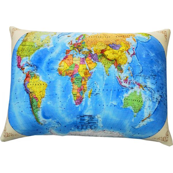 Подушка  Карта мира  р. 35х26 - Текстиль для дома артикул: 29130