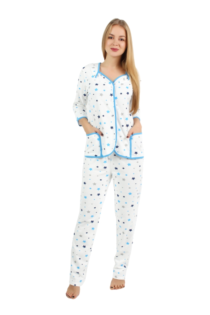 Жен. пижама арт. 16-0252 Голубой р. 48