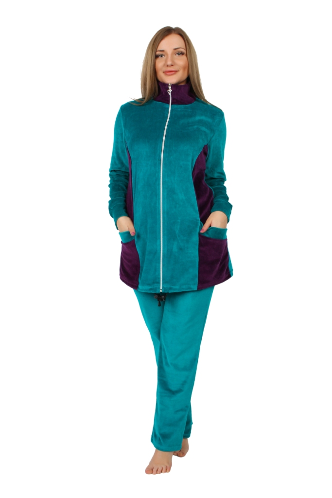 Жен. костюм арт. 16-0253 Зеленый р. 50Костюмы<br><br><br>Тип: Жен. костюм<br>Размер: 50<br>Материал: Велюр