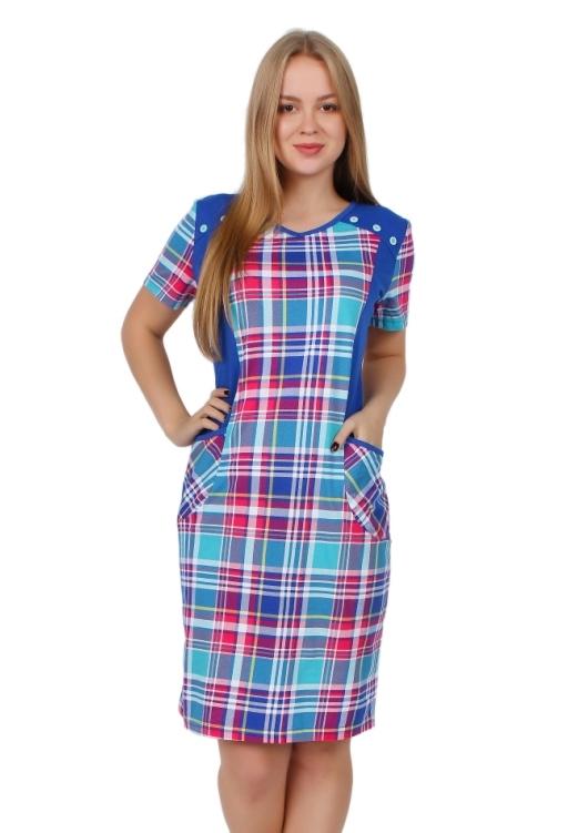 Жен. платье арт. 16-0255 Василек р. 50Платья<br>Факт. ОГ: 102 см <br>Факт. ОТ: 96 см <br>Факт. ОБ: 102 см <br>Длина по спинке: 97 см<br><br>Тип: Жен. платье<br>Размер: 50<br>Материал: Кулирка