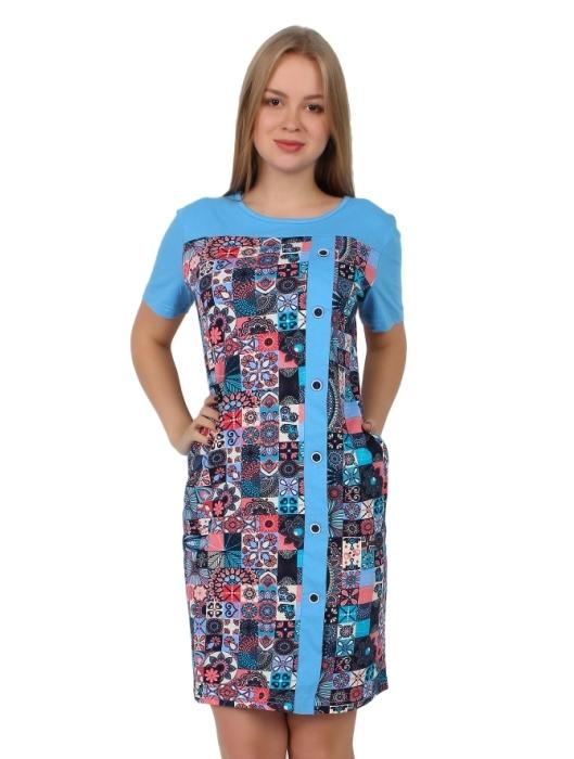 Жен. платье арт. 16-0260 Голубой р. 50Платья<br>Факт. ОГ: 102 см <br>Факт. ОТ: 98 см <br>Факт. ОБ: 104 см <br>Длина по спинке: 96 см<br><br>Тип: Жен. платье<br>Размер: 50<br>Материал: Кулирка