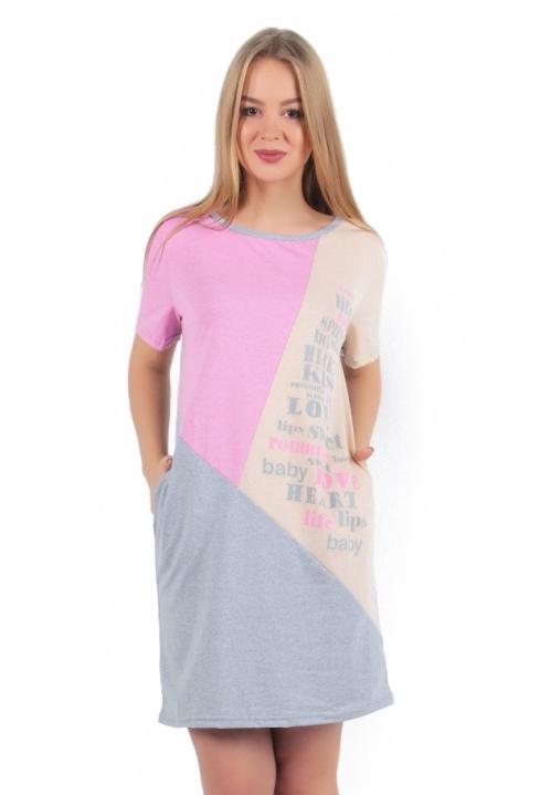 Жен. платье арт. 16-0256 Персиково-розовый р. 50Платья<br>Факт. ОГ: 104 см <br>Факт. ОТ: 104 см <br>Факт. ОБ: 106 см <br>Длина по спинке: 89 см<br><br>Тип: Жен. платье<br>Размер: 50<br>Материал: Кулирка