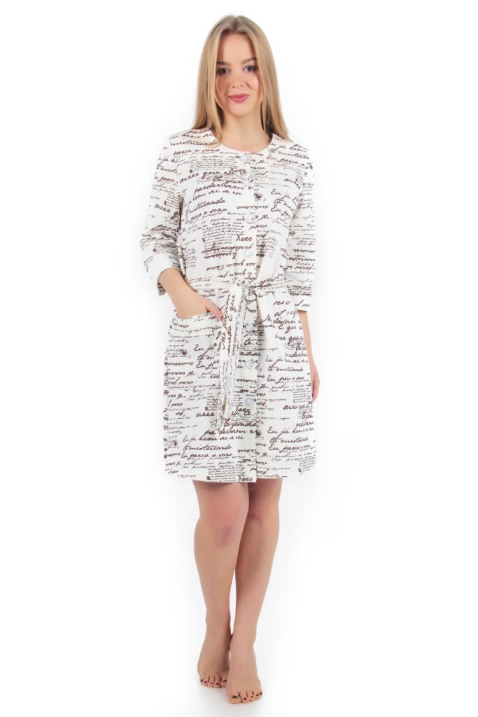 Жен. халат арт. 16-0259 Молочный р. 54Распродажа женской одежды<br>Факт. ОГ: 110 см <br>Факт. ОТ: 108 см <br>Факт. ОБ: 118 см <br>Длина по спинке: 96 см<br><br>Тип: Жен. халат<br>Размер: 54<br>Материал: Капитоний