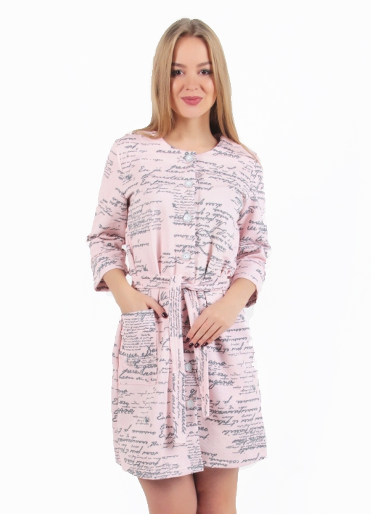 Жен. халат арт. 16-0259 Розовый р. 56 - Женская одежда артикул: 29347