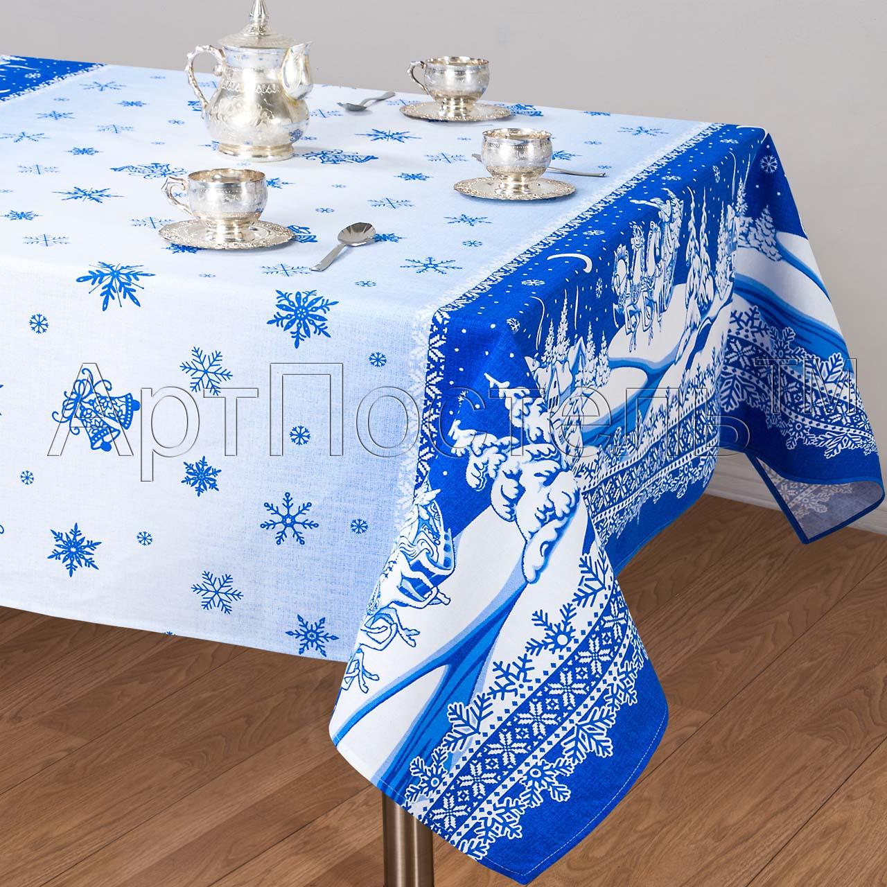 Скатерть Снежные узоры р. 260х145Кухонные принадлежности<br>Плотность ткани: 160 г/кв. м<br><br>Тип: Скатерть<br>Размер: 260х145<br>Материал: Рогожка