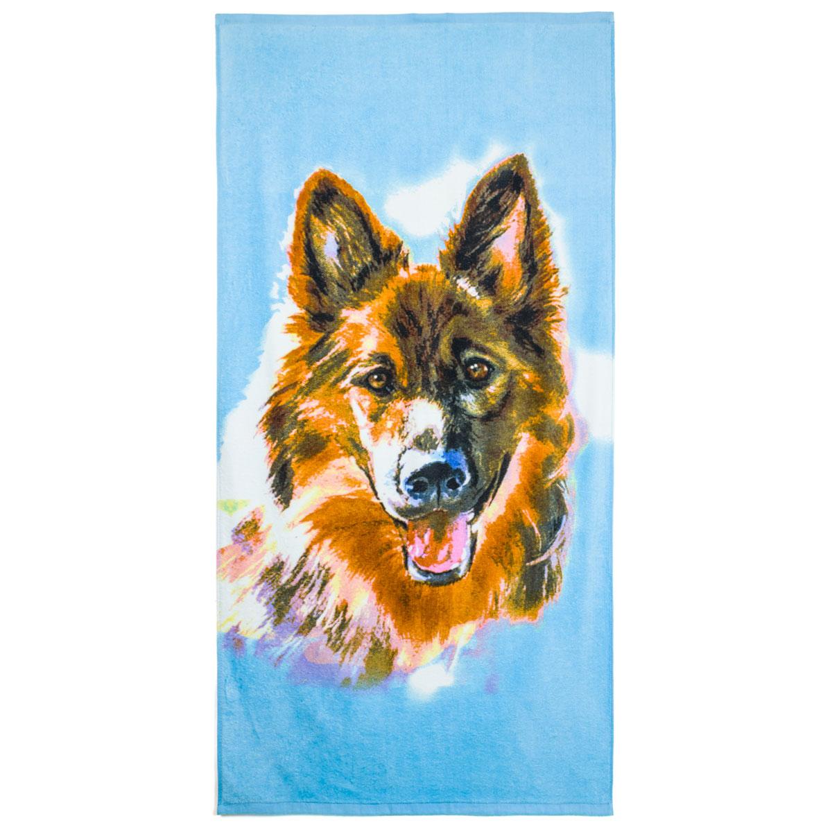 Полотенце  С символом 2018 года  Зеленый р. 65х135 - Текстиль для дома артикул: 29877