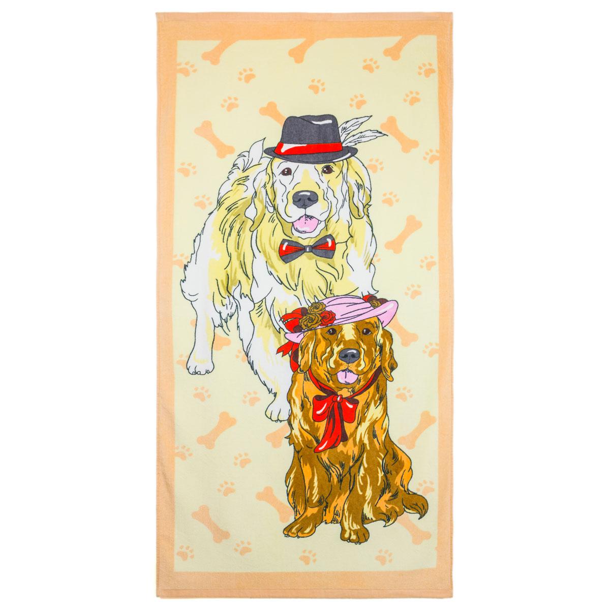 Полотенце  С собаками  Голубой р. 65х135 - Текстиль для дома артикул: 29881