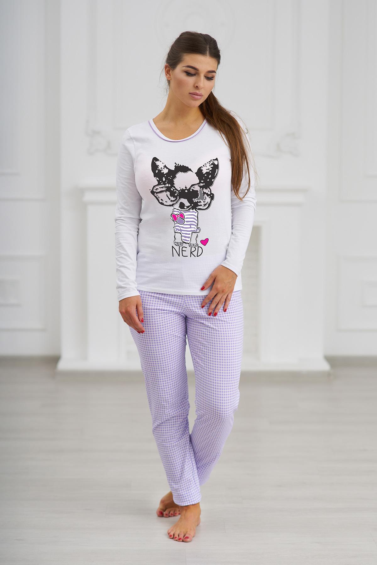 Жен. пижама С брюками Фиолетовый р. 52