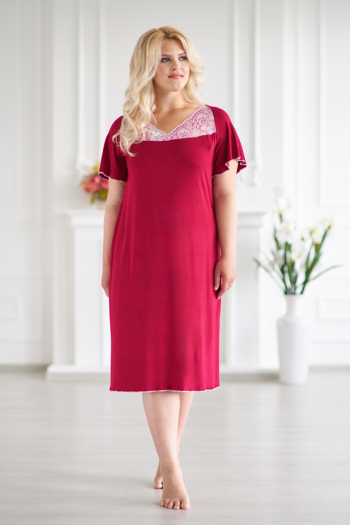 Жен. сорочка арт. 19-0053 Бордо р. 52Ночные сорочки<br>Факт. ОГ: 100 см <br>Факт. ОТ: 104 см <br>Факт. ОБ: 112 см <br>Длина по спинке: 98 см<br><br>Тип: Жен. сорочка<br>Размер: 52<br>Материал: Вискоза