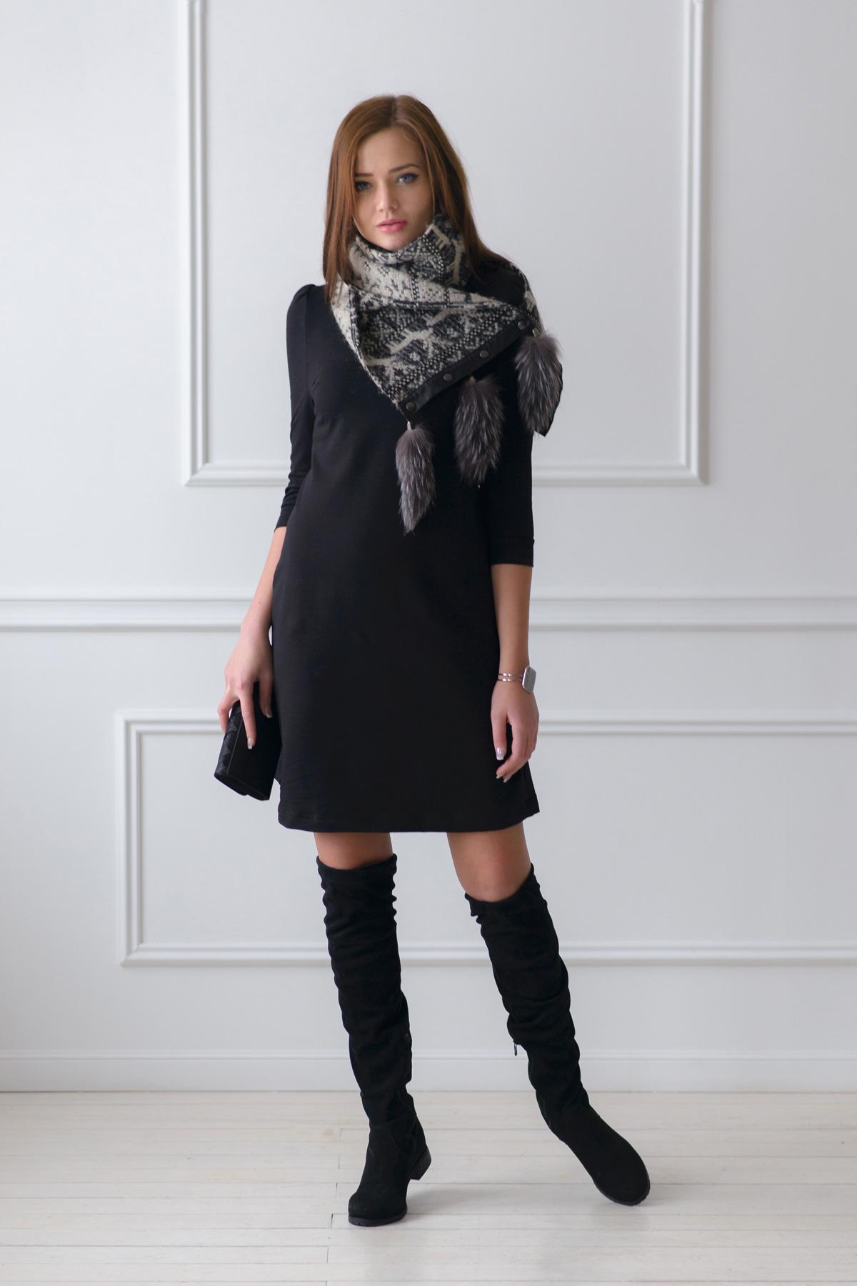 Жен. платье Модное Черный р. 48Платья<br>Факт. ОГ: 94 см <br>Факт. ОТ: 92 см <br>Факт. ОБ: 102 см <br>Длина по спинке: 93 см<br><br>Тип: Жен. платье<br>Размер: 48<br>Материал: Милано