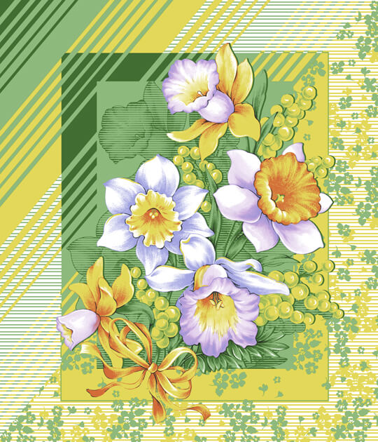 Вафельное полотенце Утренние цветы р. 50х60Вафельные полотенца<br>Плотность ткани: 170 г/кв. м<br><br>Тип: Вафельное полотенце<br>Размер: 50х60<br>Материал: Вафельное полотно