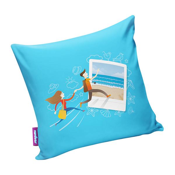 Подушка Фото на память Голубой р. 34х34.