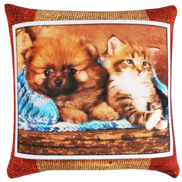 Подушка Кошки и собаки р. 35х35Подушки антистресс<br><br><br>Тип: Подушка<br>Размер: 35х35<br>Материал: Трикотаж