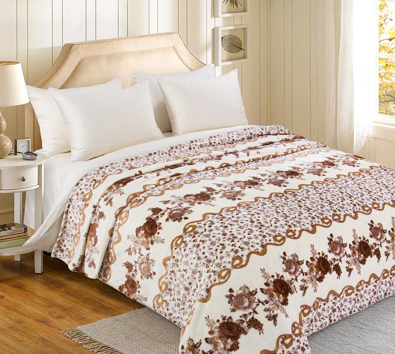 Плед  Бежевые цветы   р. 200х240 - Текстиль для дома артикул: 34616