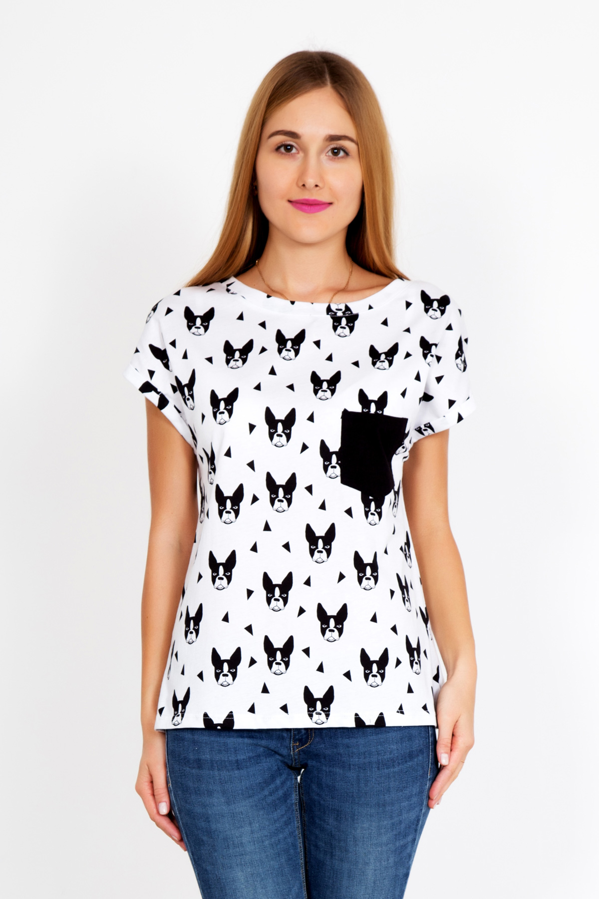 Жен. футболка Dog р. 52Майки и футболки<br>Факт. ОГ: 108 см <br>Факт. ОТ: 108 см <br>Факт. ОБ: 110 см <br>Длина по спинке: 64 см<br><br>Тип: Жен. футболка<br>Размер: 52<br>Материал: Кулирка