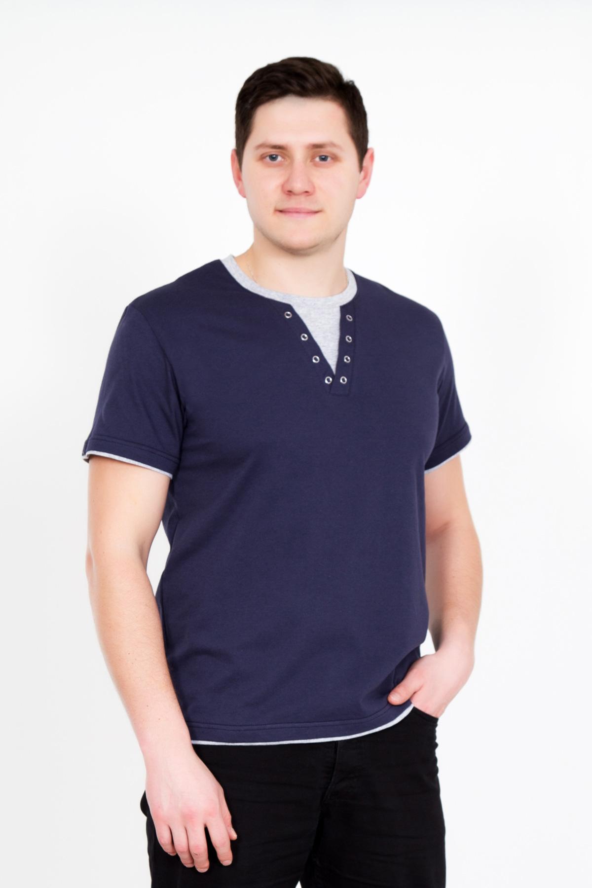 Муж. футболка Джон Синий р. 48Майки и футболки<br>Факт. ОГ: 100 см <br>Факт. ОТ: 96 см <br>Факт. ОБ: 94 см <br>Длина по спинке: 68 см<br><br>Тип: Муж. футболка<br>Размер: 48<br>Материал: Кулирка