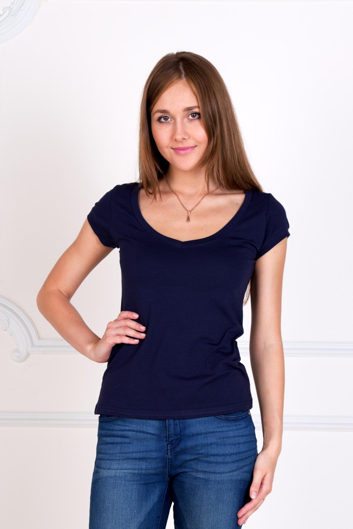 Жен. футболка Лиза Синий р. 56Майки и футболки<br>Факт. ОГ: 106 см <br>Факт. ОТ: 100 см <br>Факт. ОБ: 110 см <br>Длина по спинке: 65 см<br><br>Тип: Жен. футболка<br>Размер: 56<br>Материал: Фулайкра