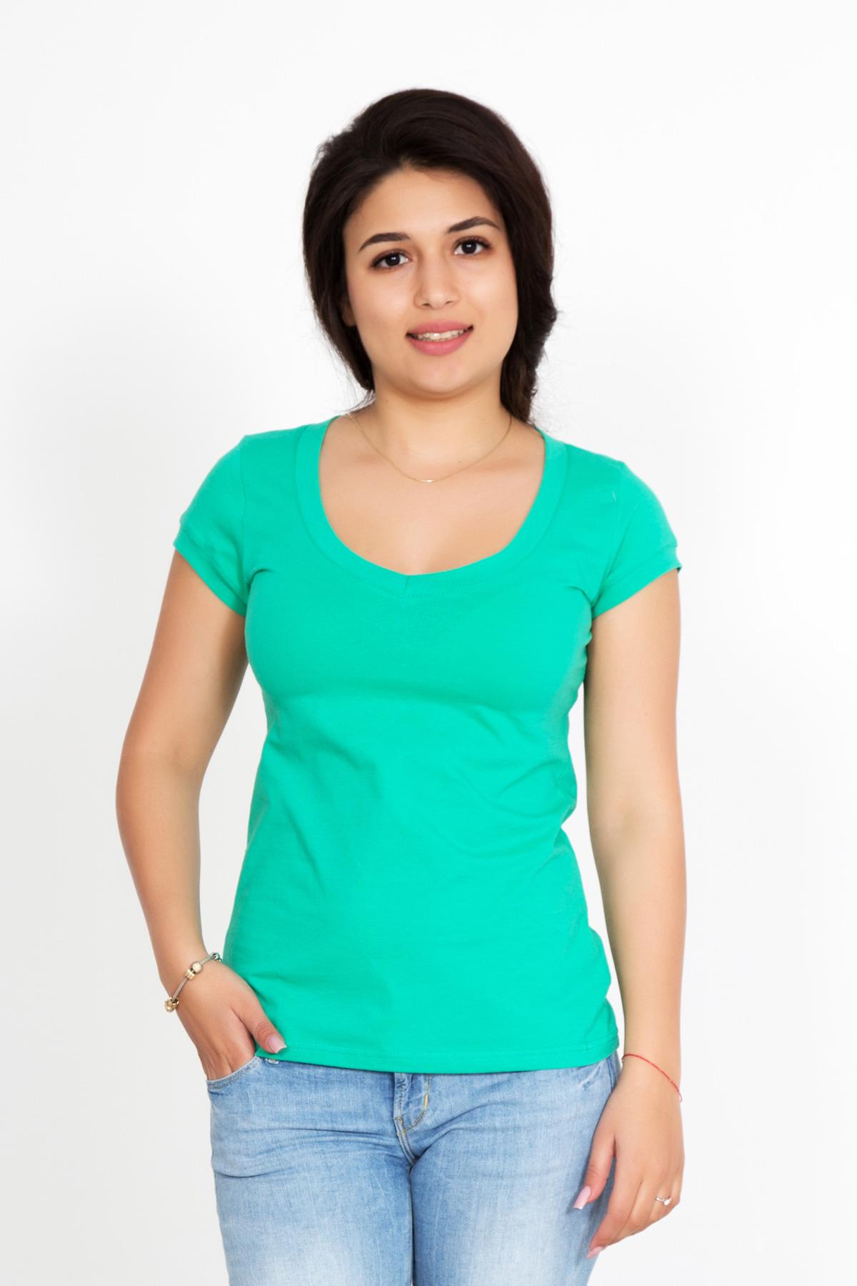 Жен. футболка Лиза Ментоловый р. 46Майки и футболки<br>Факт. ОГ: 78 см <br>Факт. ОТ: 78 см <br>Факт. ОБ: 86 см <br>Длина по спинке: 59 см<br><br>Тип: Жен. футболка<br>Размер: 46<br>Материал: Фулайкра