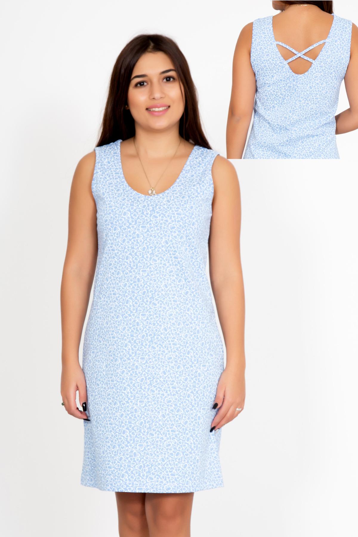 Жен. сорочка Влада Голубой р. 50Ночные сорочки<br>Факт. ОГ: 98 см <br>Факт. ОТ: 94 см <br>Факт. ОБ: 106 см <br>Длина по спинке: 91 см<br><br>Тип: Жен. сорочка<br>Размер: 50<br>Материал: Кулирка