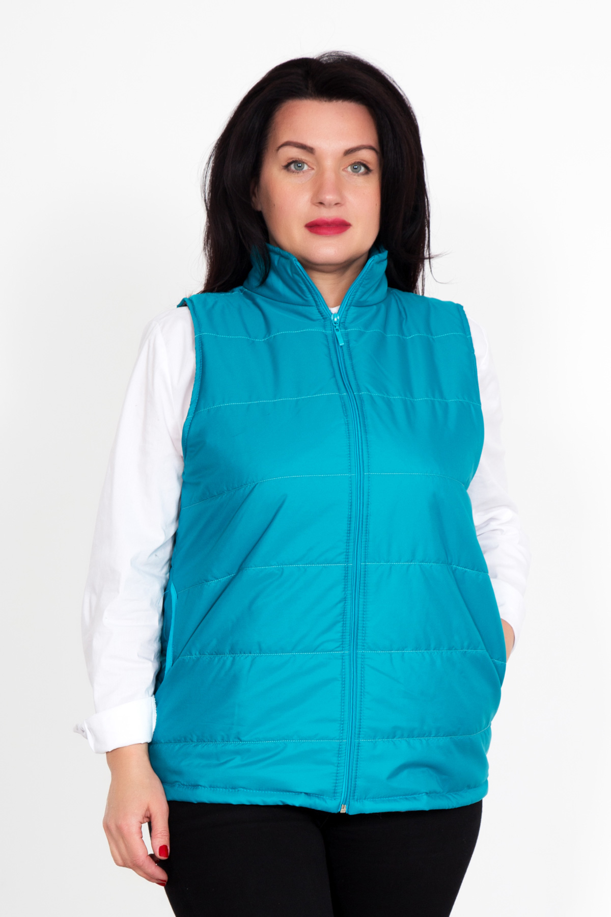 Жен. жилет арт. 18-0269 Голубой р. 50Верхняя одежда<br>Факт. ОГ: 102 см <br>Факт. ОТ: 102 см <br>Факт. ОБ: 108 см <br>Длина по спинке: 61 см<br><br>Тип: Жен. жилет<br>Размер: 50<br>Материал: Полиэстер