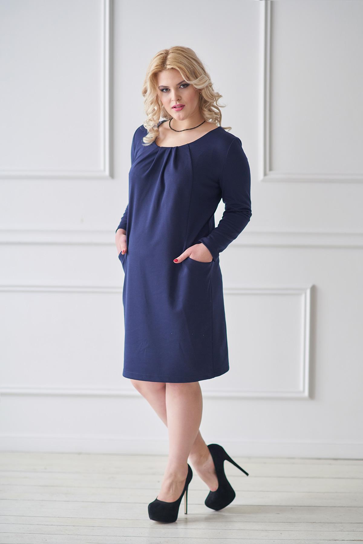 Жен. платье арт. 19-0031 синий р. 50