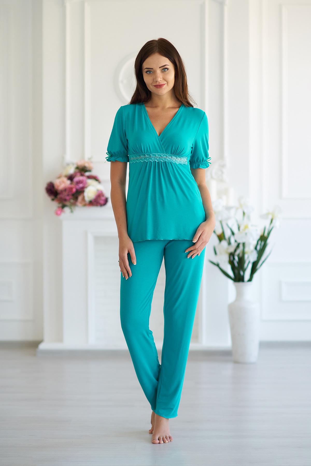 Жен. пижама арт. 19-0087 Аквамарин р. 44