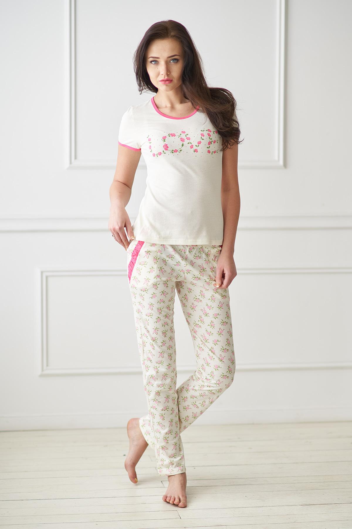 Жен. пижама арт. 19-0084 Кремовый р. 52 - Женская одежда артикул: 34565