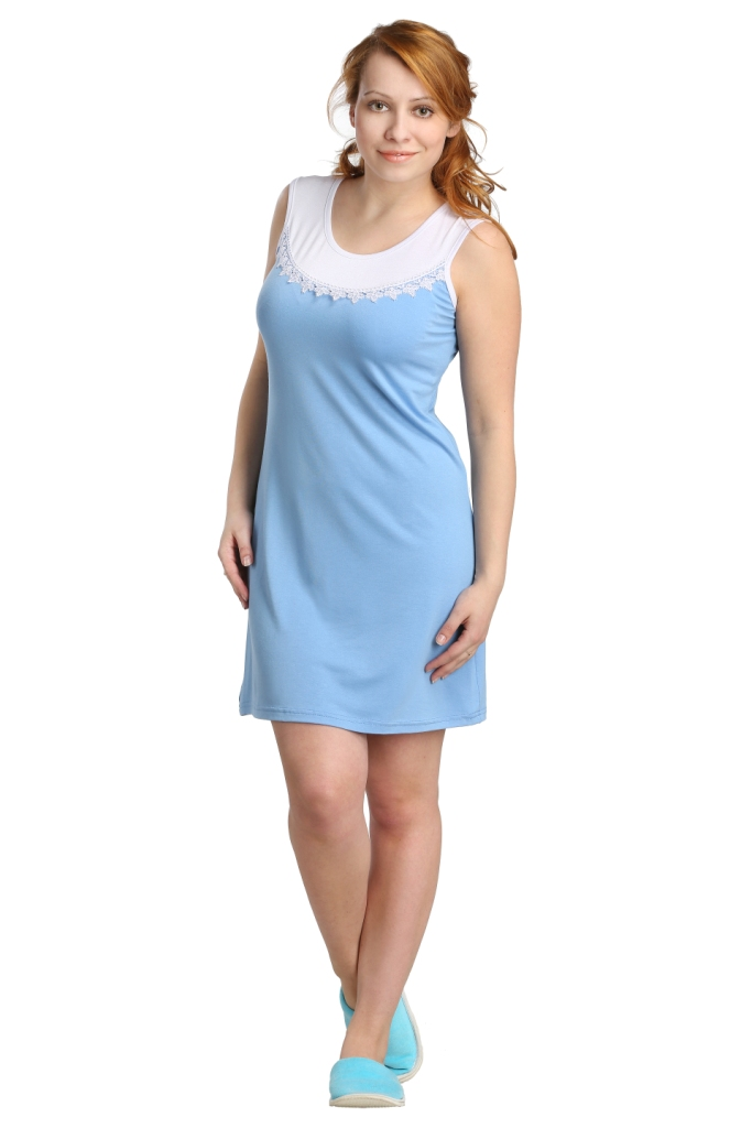 Жен. сорочка Мия Голубой р. 52Ночные сорочки<br>Факт. ОГ: 98 см <br>Факт. ОТ: 96 см <br>Факт. ОБ: 108 см <br>Длина по спинке: 89 см<br><br>Тип: Жен. сорочка<br>Размер: 52<br>Материал: Вискоза