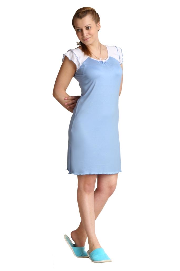 Жен. сорочка Анна Голубой р. 44Ночные сорочки<br>Факт. ОГ: 78 см <br>Факт. ОТ: 80 см <br>Факт. ОБ: 90 см <br>Длина по спинке: 87 см<br><br>Тип: Жен. сорочка<br>Размер: 44<br>Материал: Вискоза