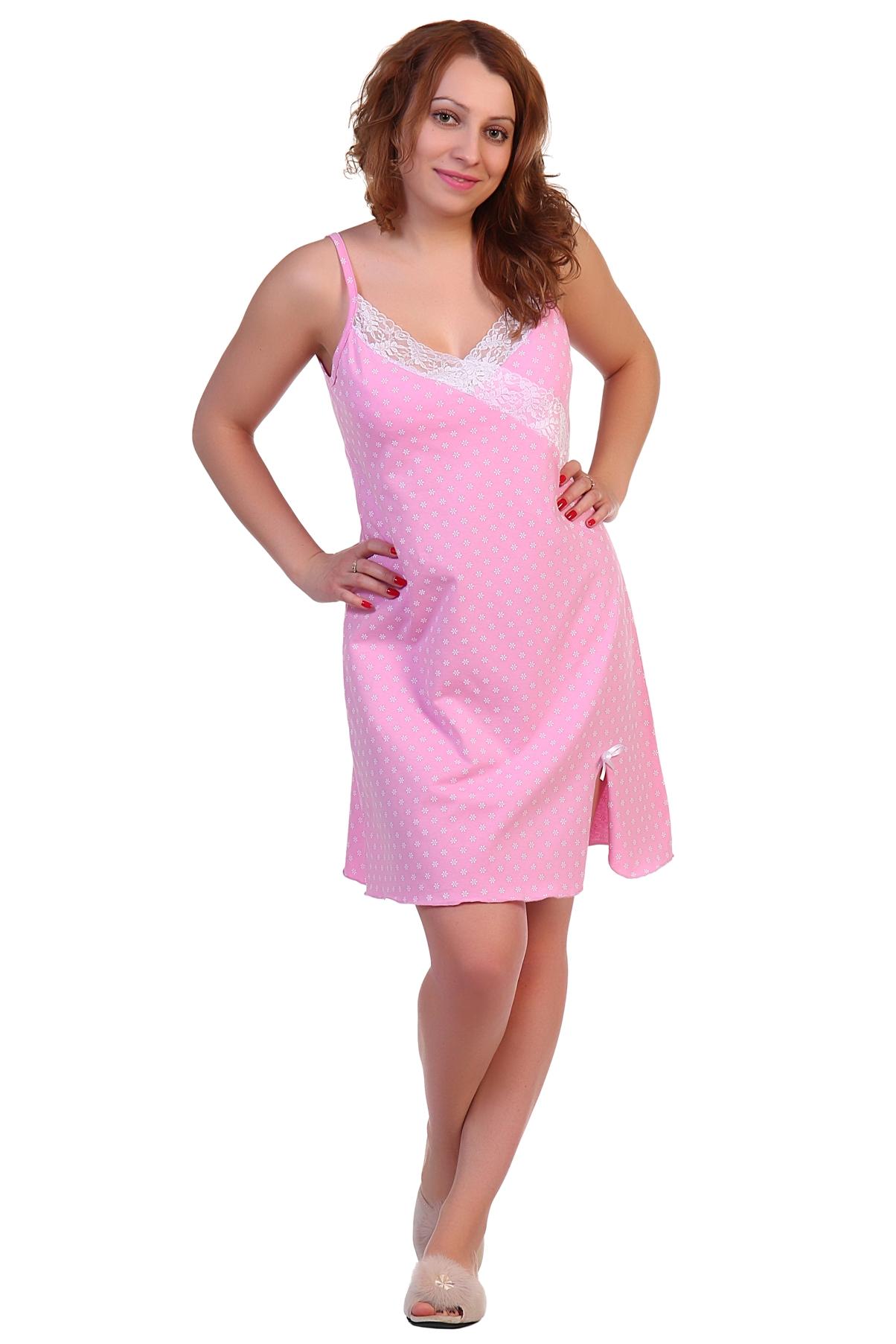 Жен. сорочка арт. 16-0302 Розовый р. 48Ночные сорочки<br>Факт. ОГ: 88 см <br>Факт. ОТ: 90 см <br>Факт. ОБ: 102 см <br>Длина по спинке: 87 см<br><br>Тип: Жен. сорочка<br>Размер: 48<br>Материал: Кулирка