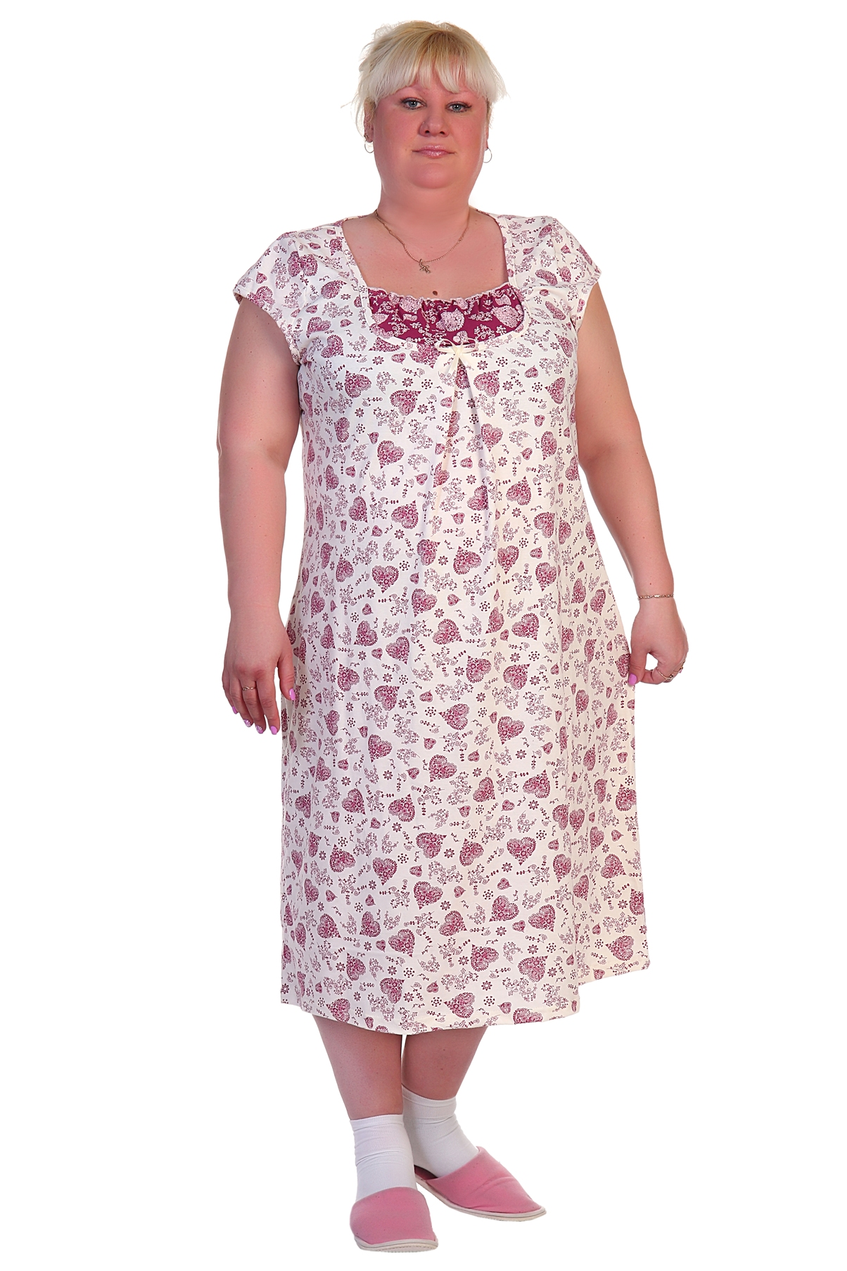 Жен. сорочка арт. 16-0288 р. 62Ночные сорочки<br>Факт. ОГ: 128 см <br>Факт. ОТ: 132 см <br>Факт. ОБ: 144 см <br>Длина по спинке: 115 см<br><br>Тип: Жен. сорочка<br>Размер: 62<br>Материал: Кулирка