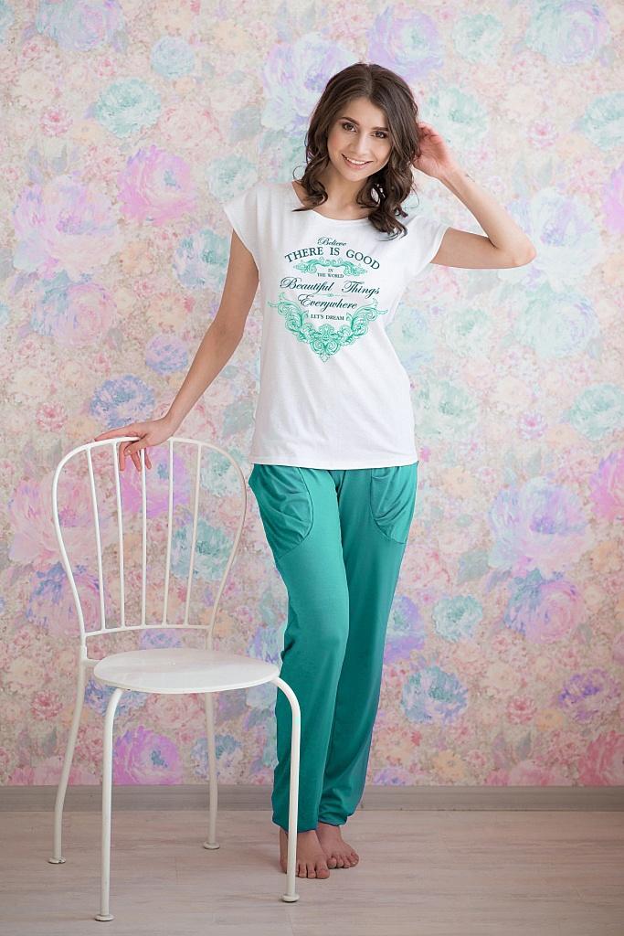 Жен. комплект арт. 19-0085 Изумрудный р. 44 футболки