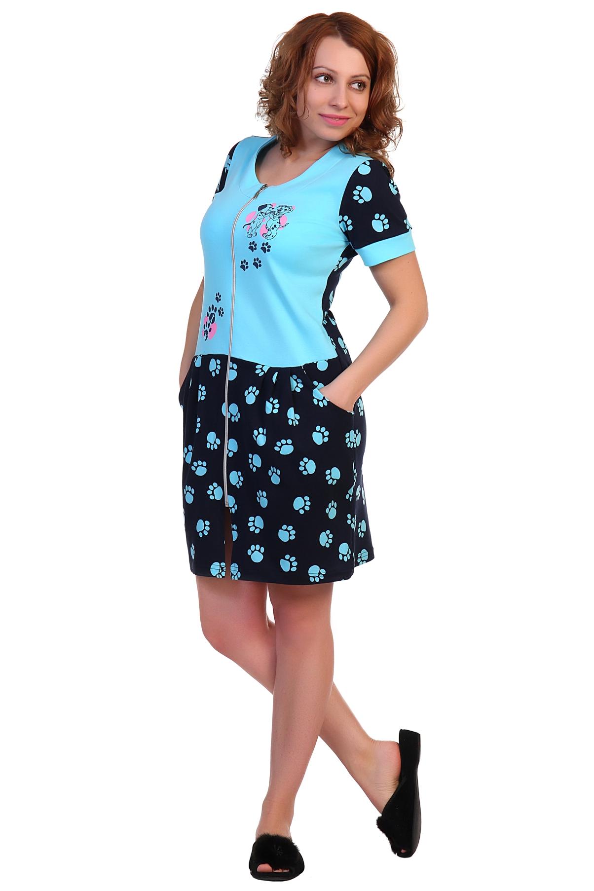 Жен. халат арт. 16-0298 Голубой р. 54 - Женская одежда артикул: 34181