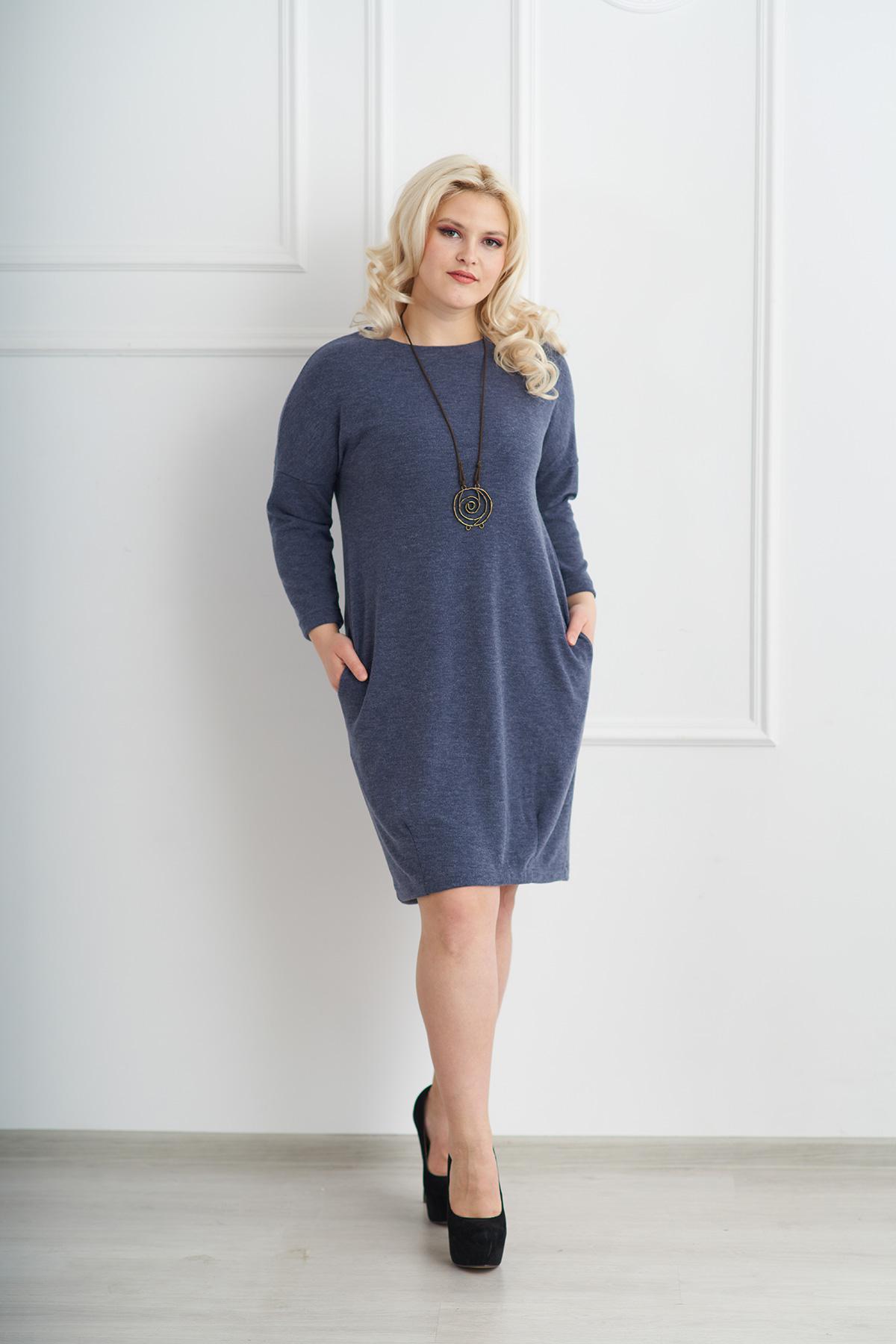 Жен. платье арт. 19-0075 Индиго р. 58Платья<br>Факт. ОГ: 118 см <br>Факт. ОТ: 120 см <br>Факт. ОБ: 124 см <br>Длина по спинке: 107 см<br><br>Тип: Жен. платье<br>Размер: 58<br>Материал: Ангора