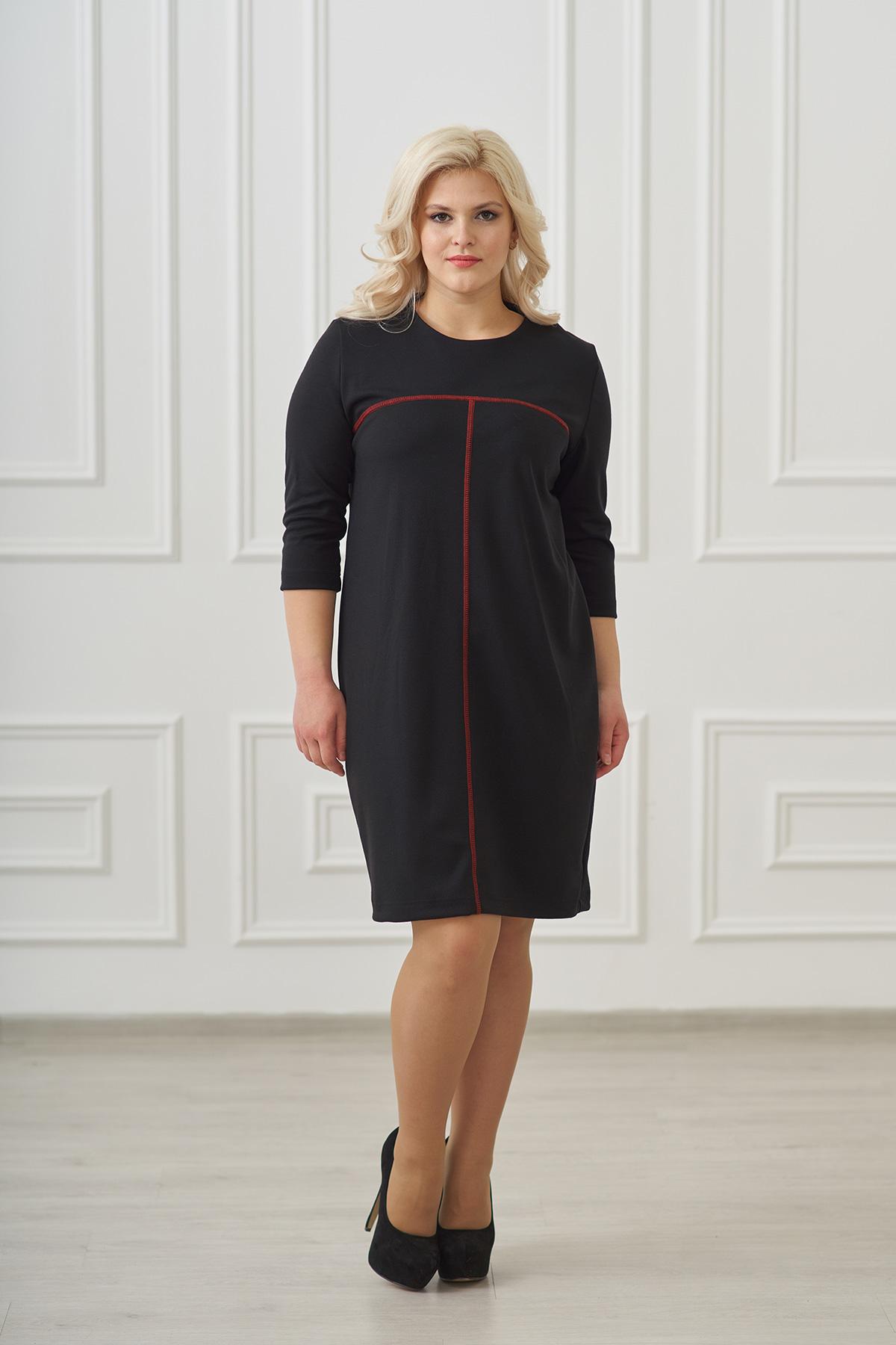 Жен. платье арт. 19-0025 Черный р. 52Платья<br>Факт. ОГ: 104 см <br>Факт. ОТ: 106 см <br>Факт. ОБ: 110 см <br>Длина по спинке: 98 см<br><br>Тип: Жен. платье<br>Размер: 52<br>Материал: Милано