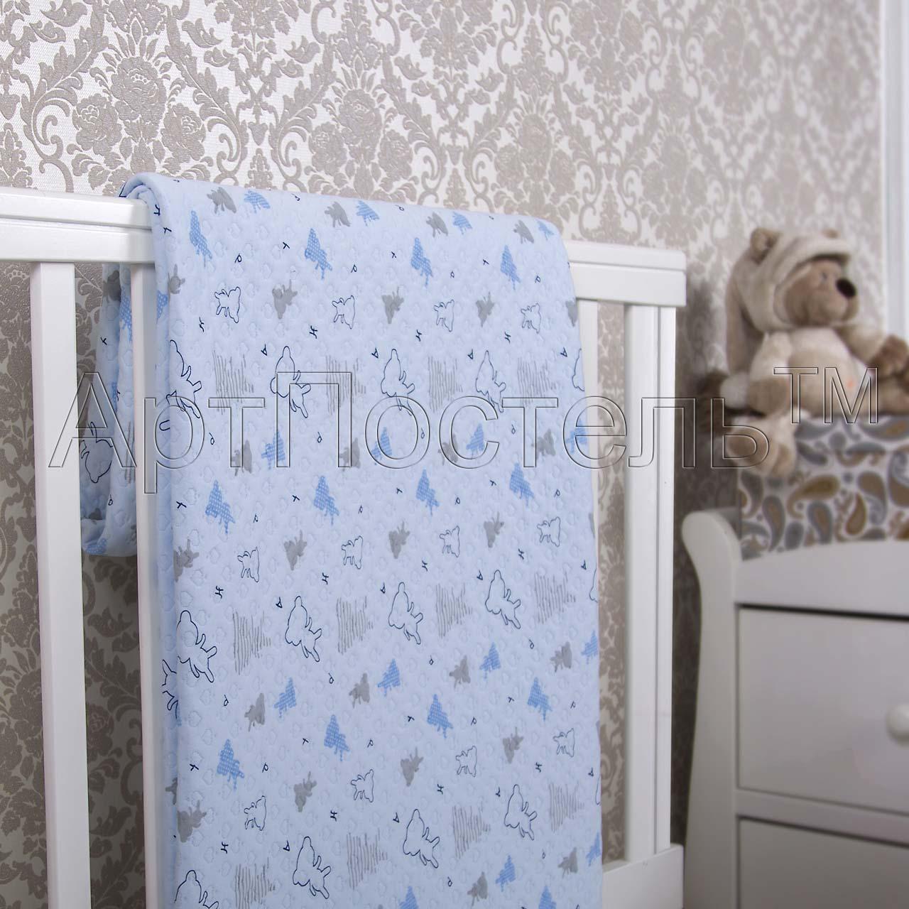 Покрывало  Мишки-малышки  Голубой р. 140х200 - Текстиль для дома артикул: 33961