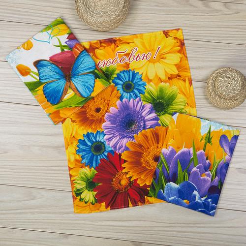 Набор полотенец Цветник р. 45х60Полотенца вафельные<br>Плотность: 160 г/кв. м <br>Количество в наборе: 3 шт.<br><br>Тип: Набор полотенец<br>Размер: 45х60<br>Материал: Вафельное полотно