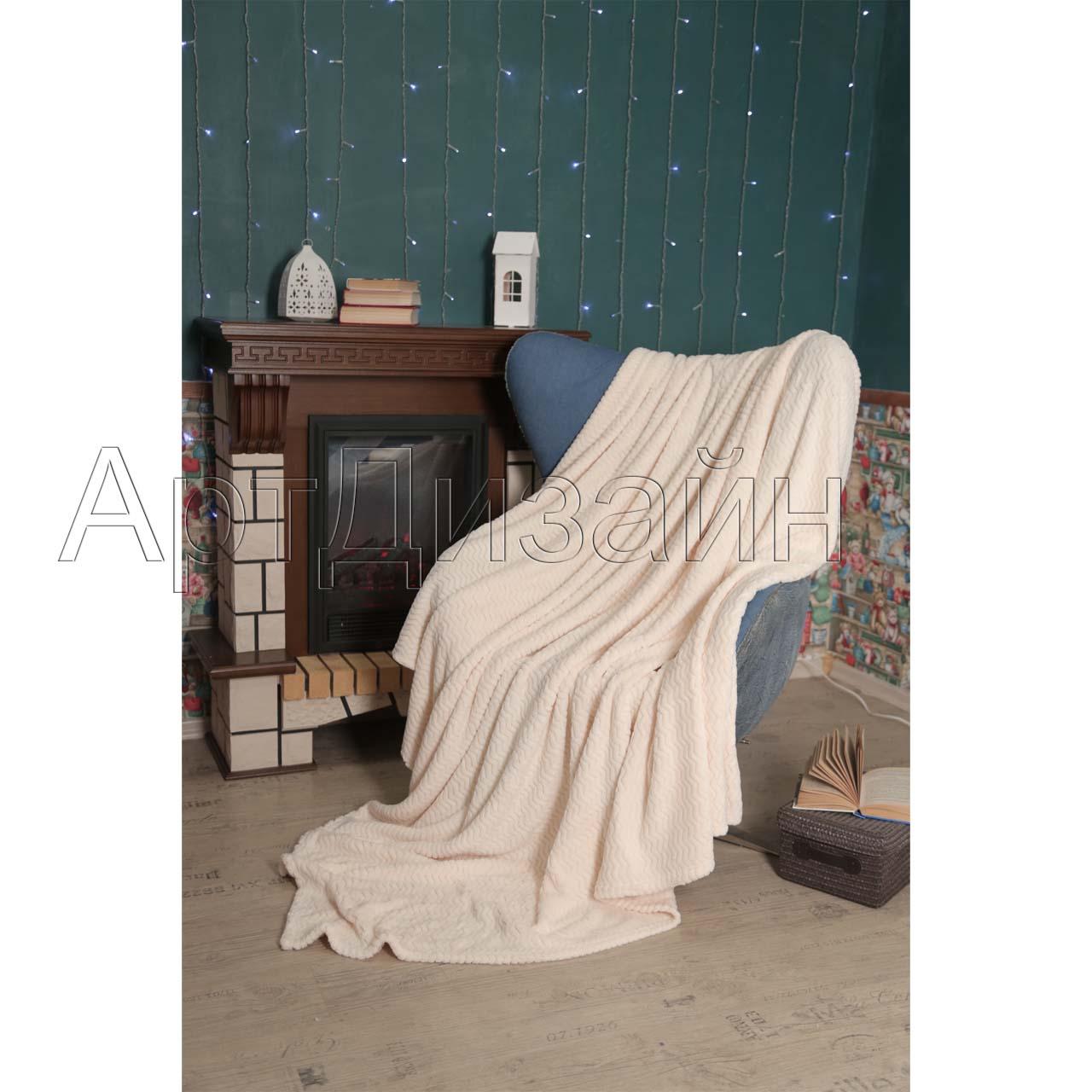 Плед  Роскошь  Сливки р. 200х220 - Текстиль для дома артикул: 34006