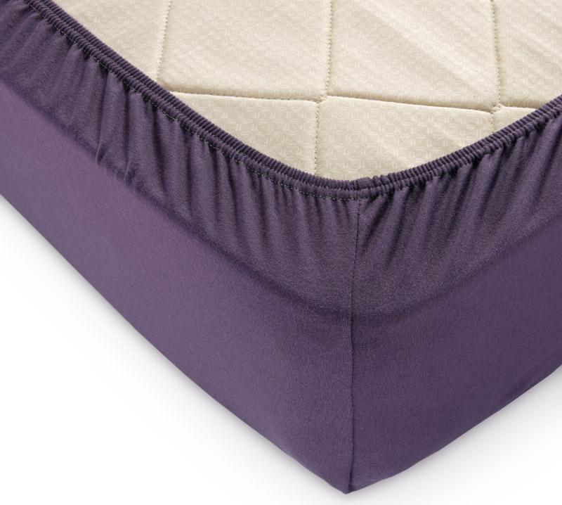 Простыня на резинке Баклажан р. 90х200Простыни<br>Плотность ткани: 120 г/кв. м <br>Высота матраса: 20 см<br><br>Тип: Простыня на резинке<br>Размер: 90х200<br>Материал: Кулирка