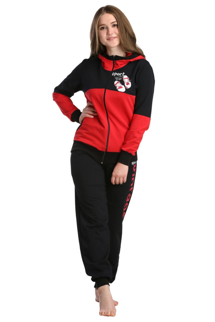 Жен. костюм арт. 16-0231 Красный р. 58Костюмы<br><br><br>Тип: Жен. костюм<br>Размер: 58<br>Материал: Футер