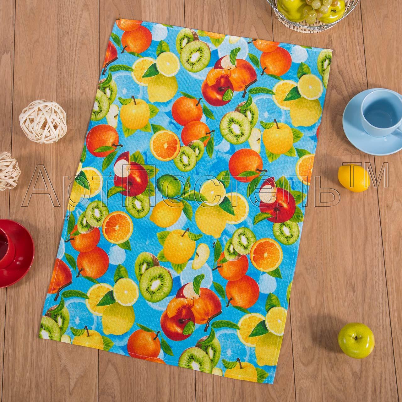 Вафельное полотенце Фрукты р. 80х150Вафельные полотенца<br>Плотность: 160 г/кв. м<br><br>Тип: Вафельное полотенце<br>Размер: 80х150<br>Материал: Вафельное полотно