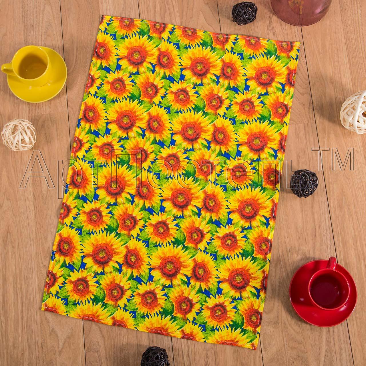 Вафельное полотенце Подсолнухи р. 80х150Вафельные полотенца<br>Плотность: 160 г/кв. м<br><br>Тип: Вафельное полотенце<br>Размер: 80х150<br>Материал: Вафельное полотно