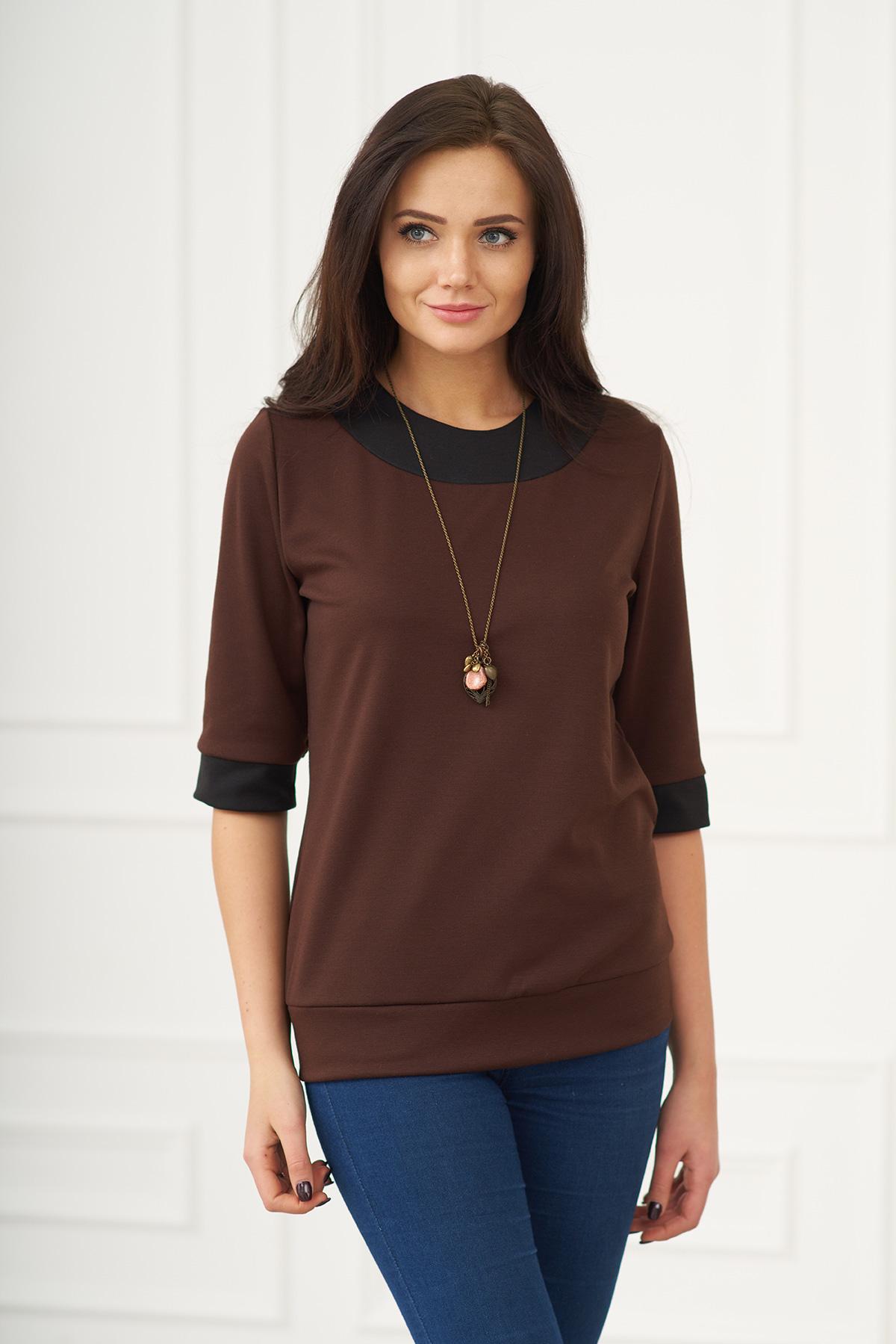 Жен. блуза арт. 19-0091 Шоколадный р. 54Блузы<br><br><br>Тип: Жен. блуза<br>Размер: 54<br>Материал: Милано