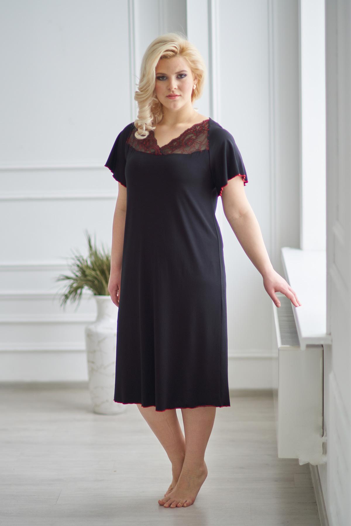 Жен. сорочка арт. 19-0053 Черный р. 52Ночные сорочки<br><br><br>Тип: Жен. сорочка<br>Размер: 52<br>Материал: Вискоза