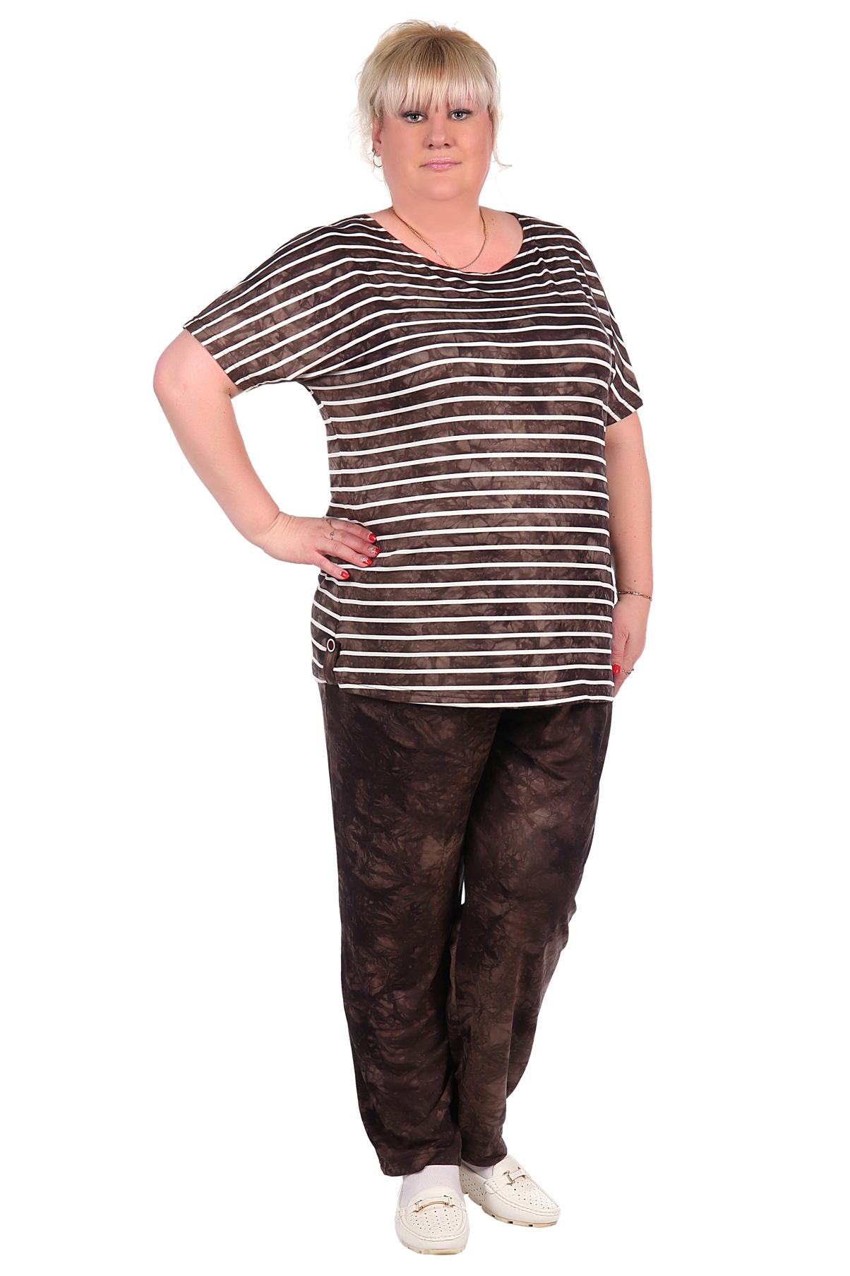 Жен. костюм арт. 16-0018 Коричневый р. 66Костюмы<br><br><br>Тип: Жен. костюм<br>Размер: 66<br>Материал: Вискоза
